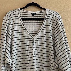 torrid Tops - TORRID Black & White Stripe Waffle Knit Henley Tee